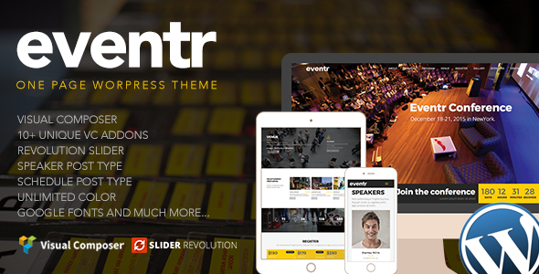 Eventr - Responsive One Page Event WordPress Theme
