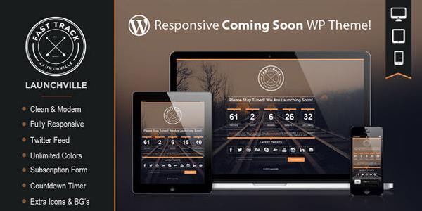 Responsive coming soon WordPress Theme